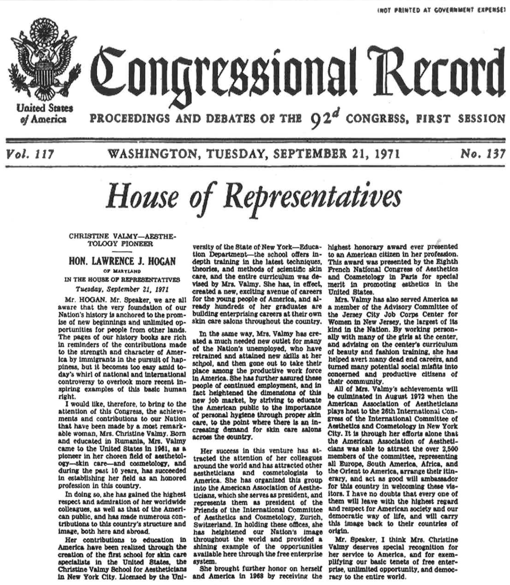 Congressional record praising Christine Valmy for pioneering the skin care industry in the United States.
