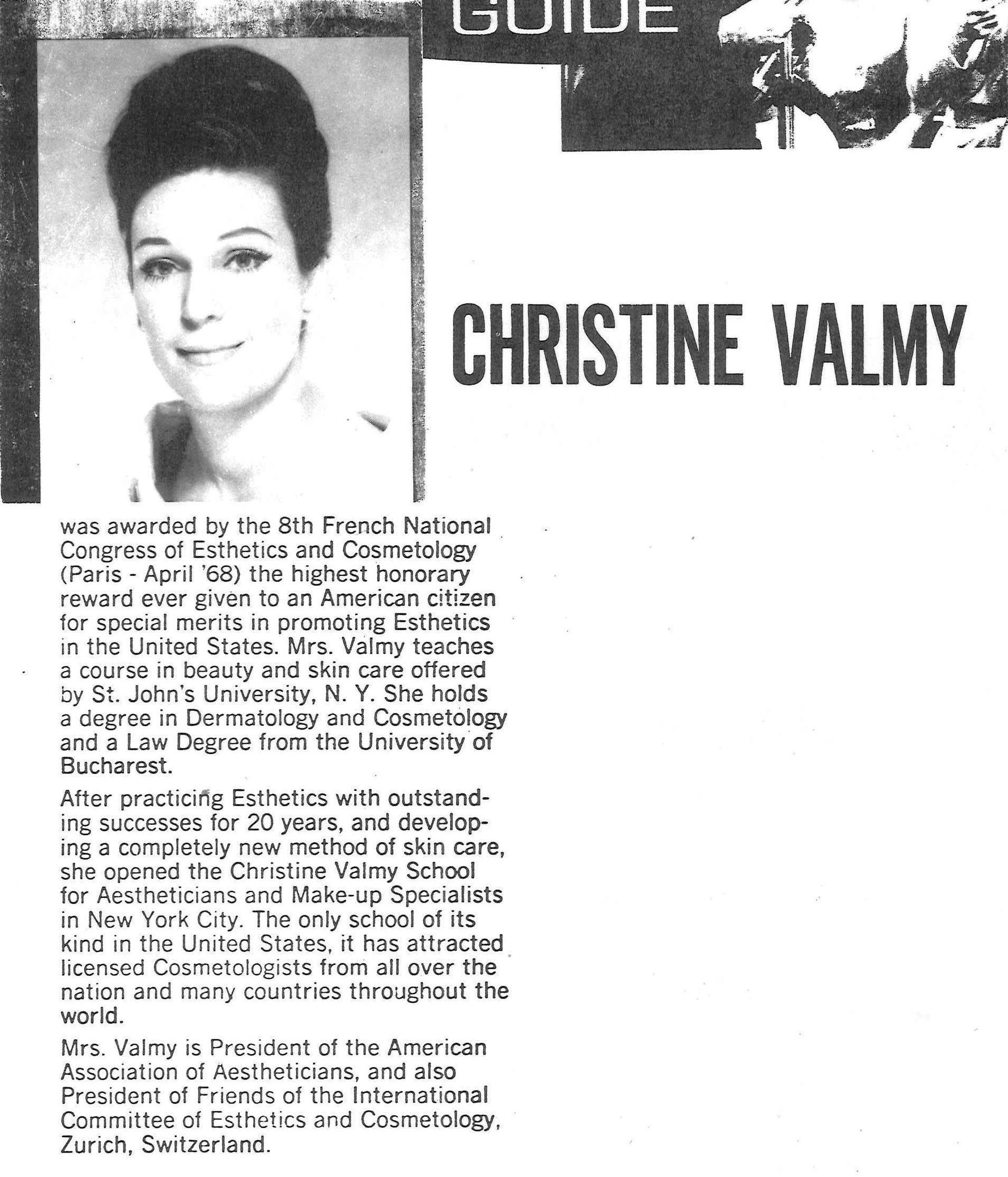 Old article discussing the successes of Christine Valmy.