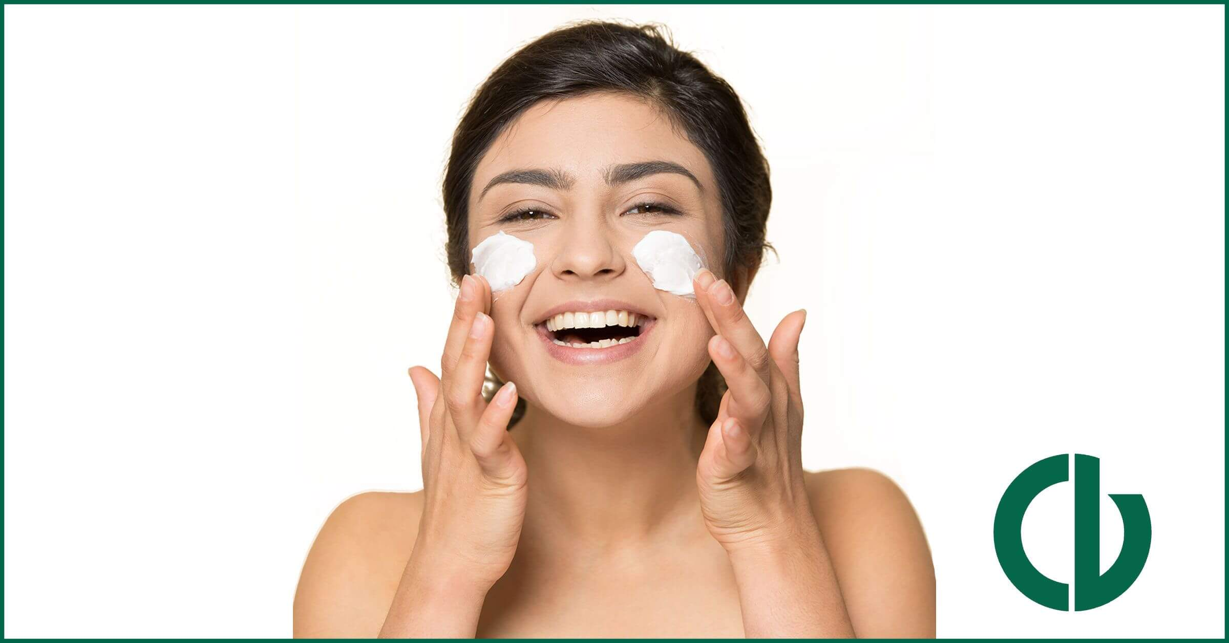 How to care for dry skin, girl happily applying face moisturizer