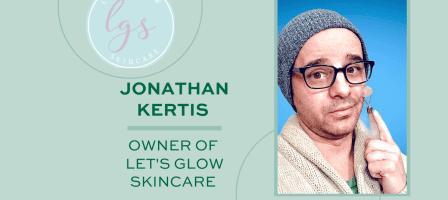 Jonathan Kertis using a face roller & Let's Glow skincare logo