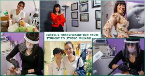 Christine Valmy alum, Isabel, as a student and as the owner of Sanu Day Spa