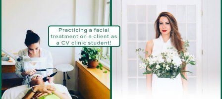 Christine Valmy Esthetics Alumni practicing on a clinic client and posing as a spa owner.