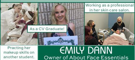 Collage of photos of CVNJ Skin Care alum, Emily