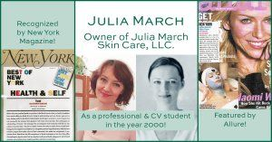 CV Esthetics alum, Julia, as a student, professional and her features in NY Magazine and Allure